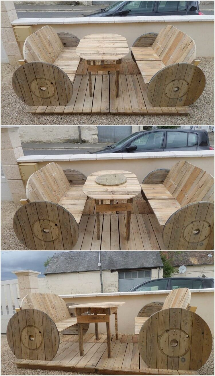 Little Outdoor Terrace with Cable Reel and Pallets