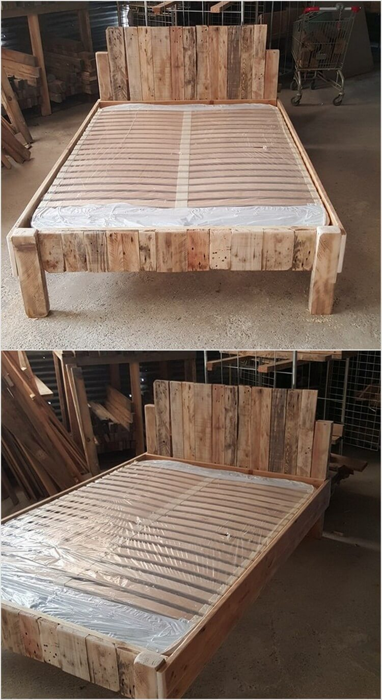 Innovative ideas to recycle old wood pallets pallet wood for Recycled pallet bed frame