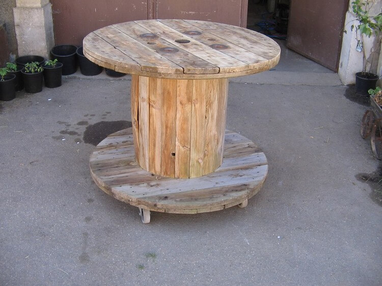 Pallet Cable Reel Spool Table on Wheels