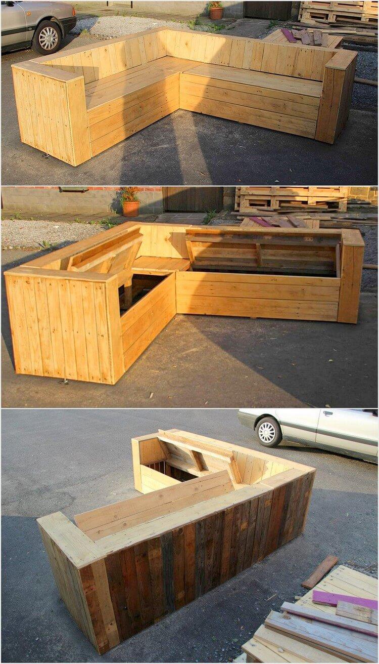 Pallet Corner Couch with Storage
