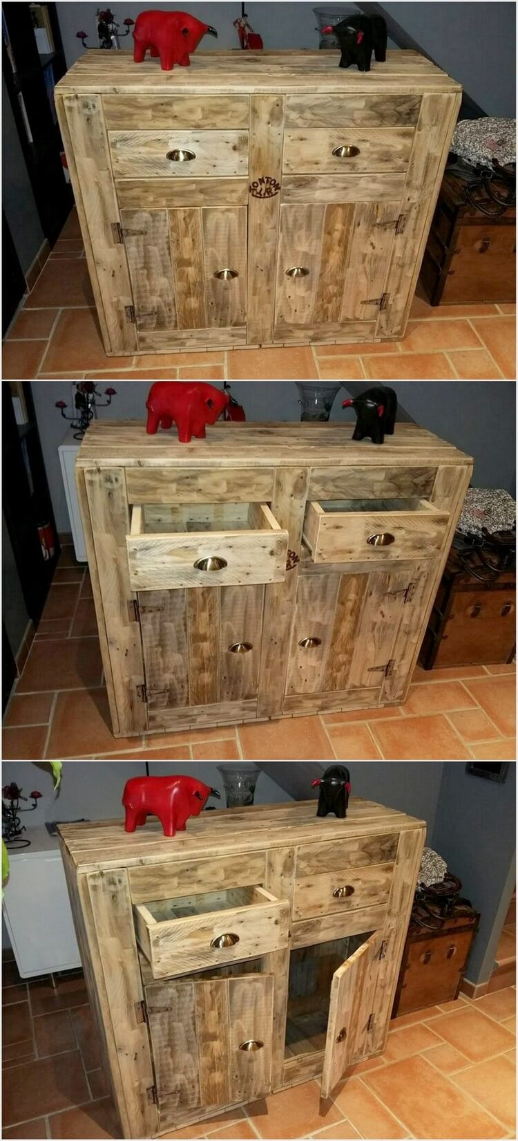 Pallet Entryway Table with Drawers (2)