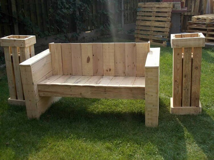 Pallet Garden Bench with Planters