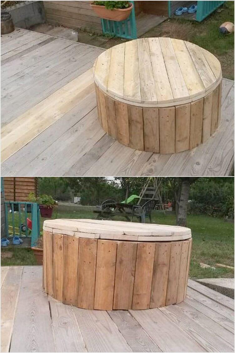 Pallet Garden Deck and Round Seat