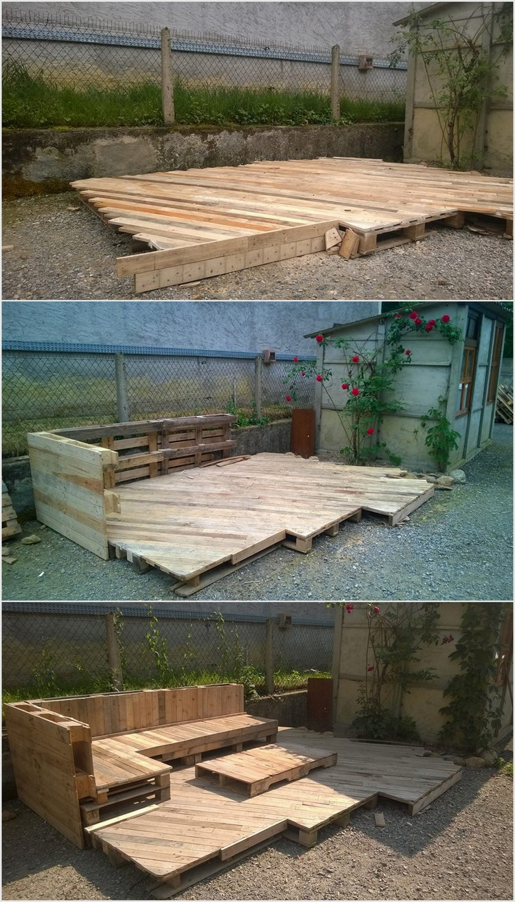 Price worthy awesome shipping pallet recycling ideas for Garden decking from pallets