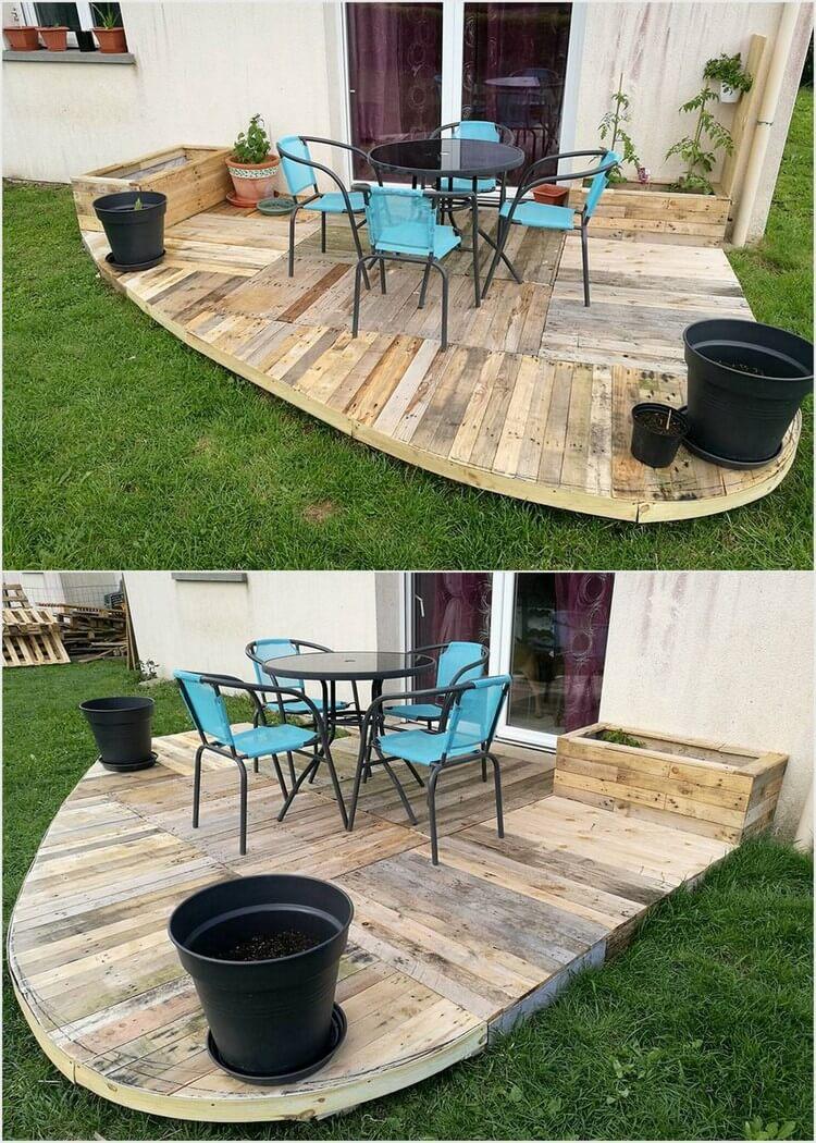 Pallet Garden Deck with Planters