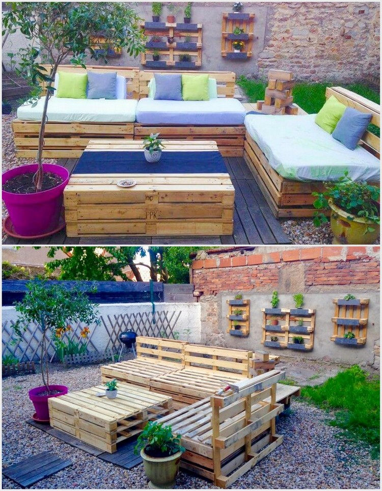 Pallet Garden Furniture Set and Wall Planters