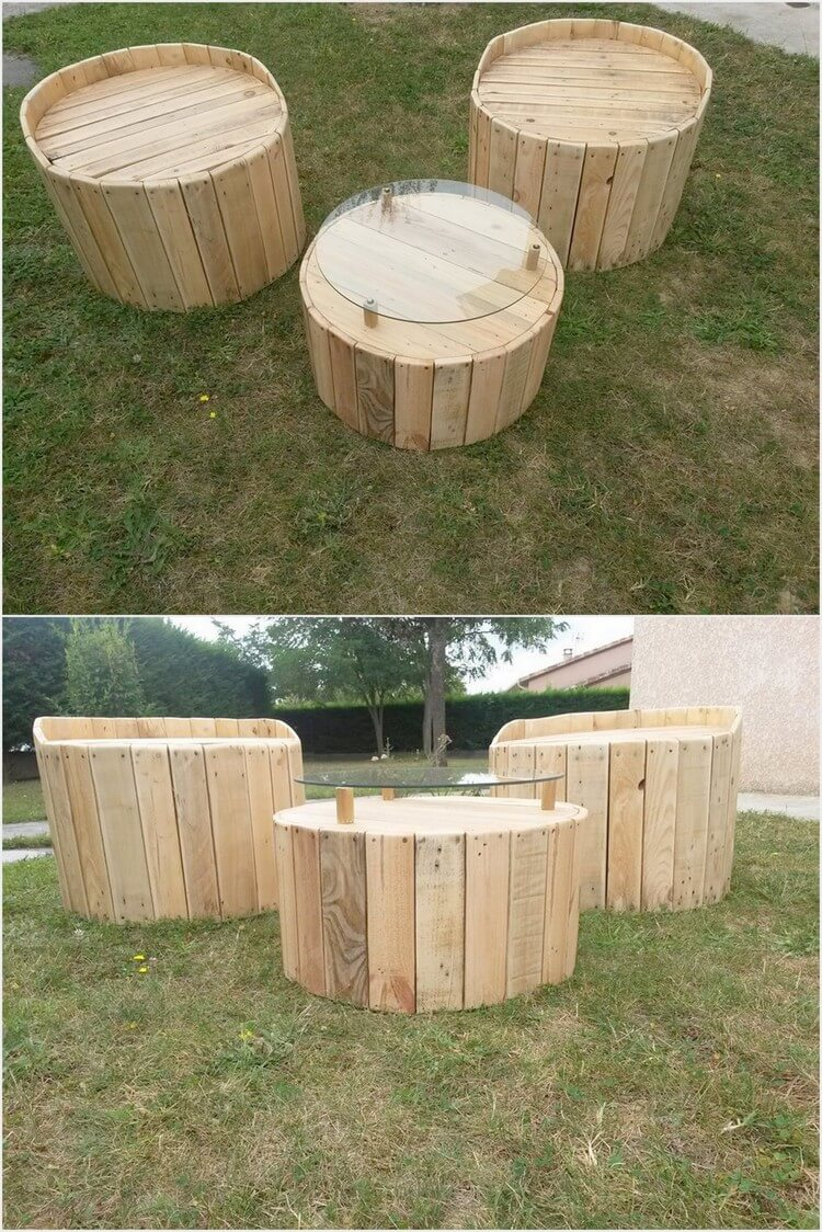 Pallet Garden Round Chairs and Table
