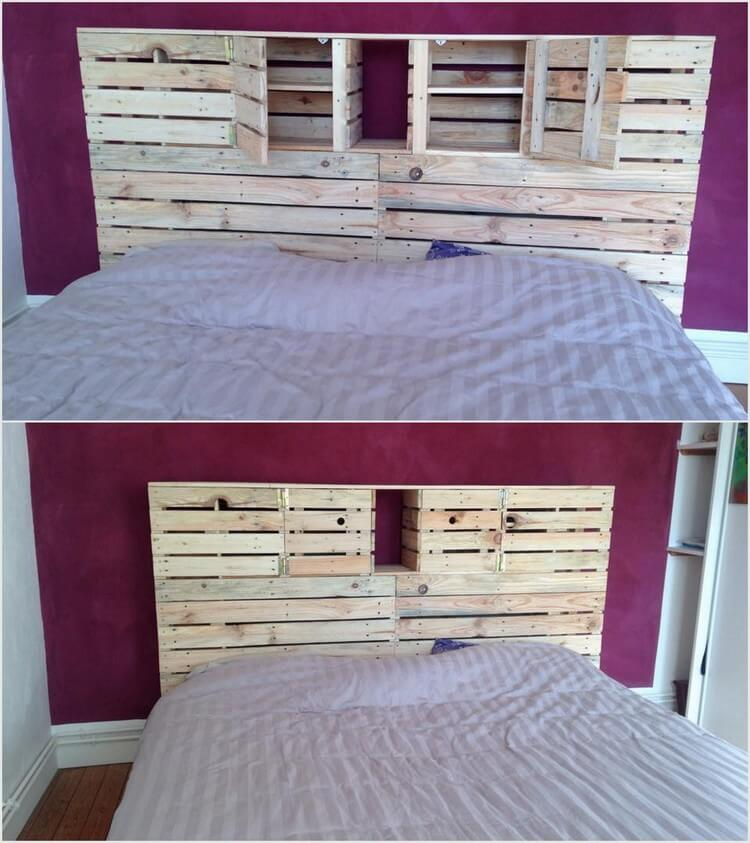 Pallet Headboard with Storage Drawers