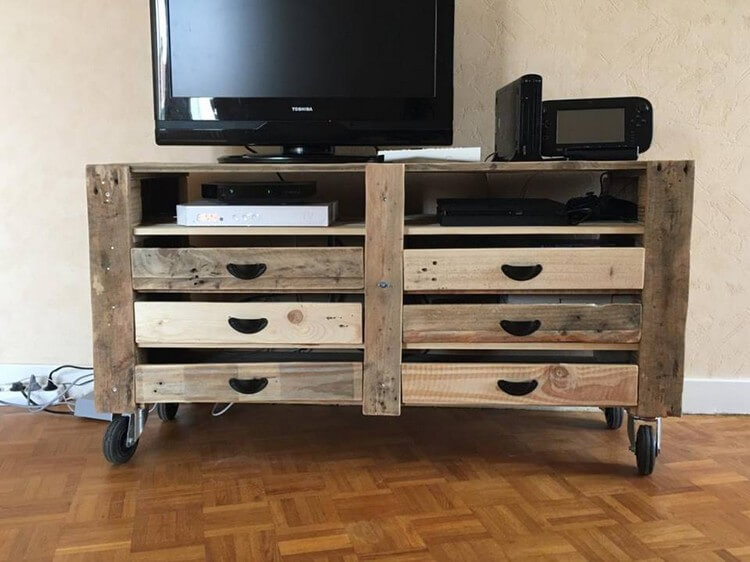 Pallet Media Table with Six Drawers