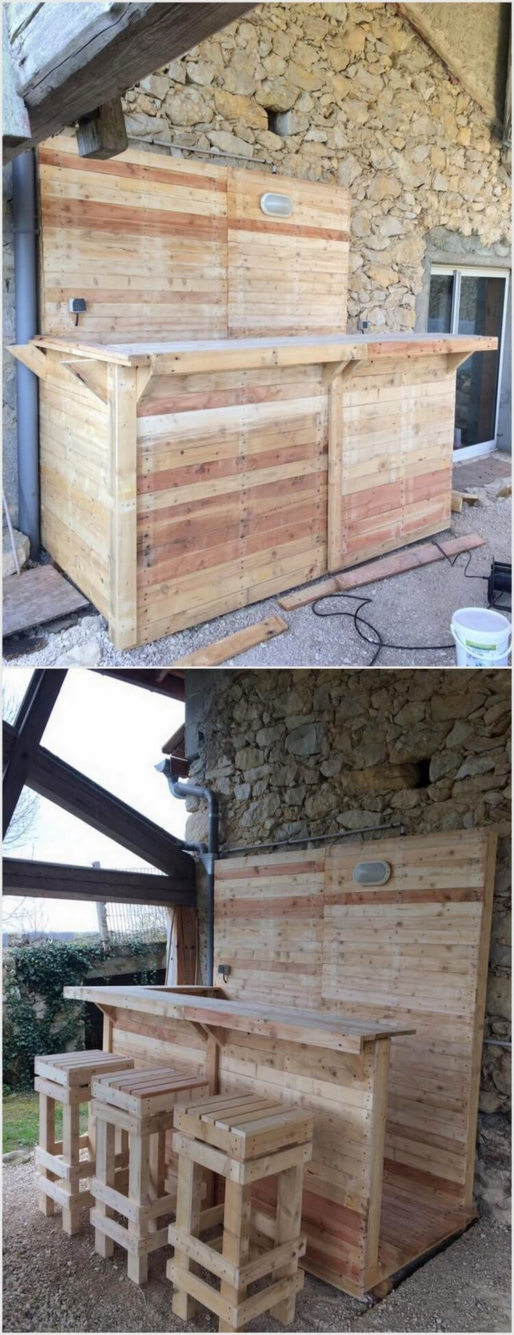 Innovative ideas to recycle old wood pallets pallet wood for Pallet garden furniture bar