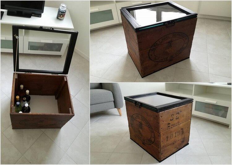 Pallet Storage Box with Glass Top