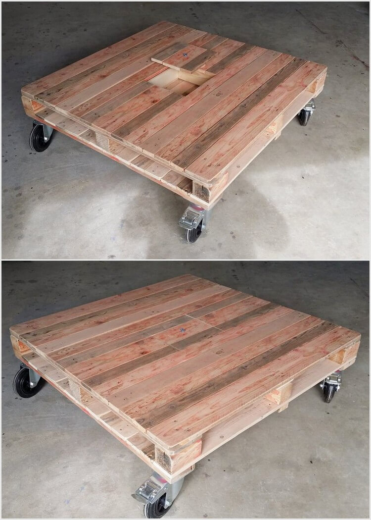 Pallet Table with Center Hidden Storage