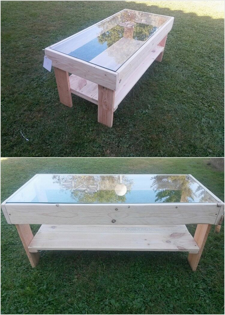 Pallet Table with Glass Top