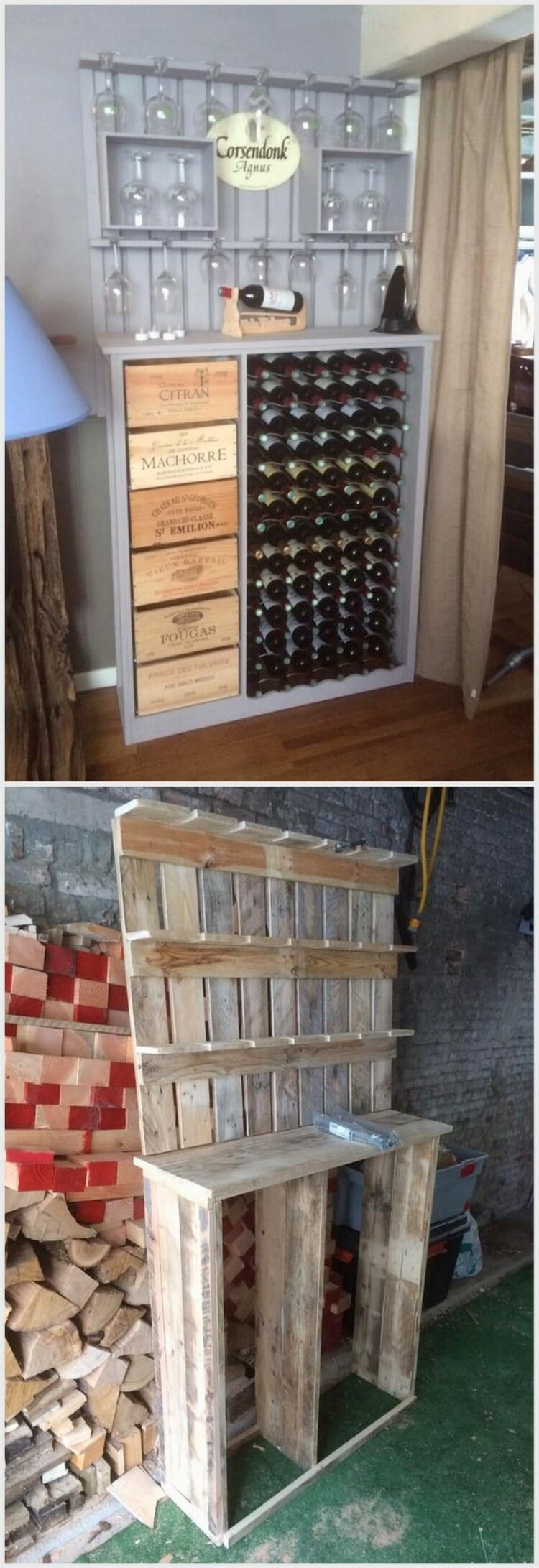 Pallet Wine Rack with Glass Holders and Drawers