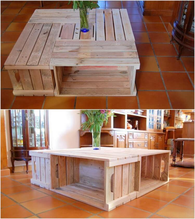 Pallet and Crates Table with Storage