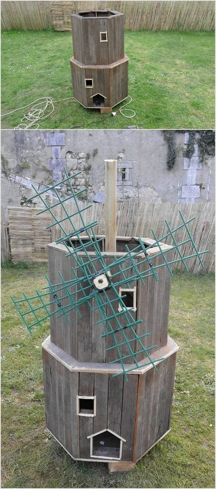 Recycled Wood Pallet Wind Mill for Kids