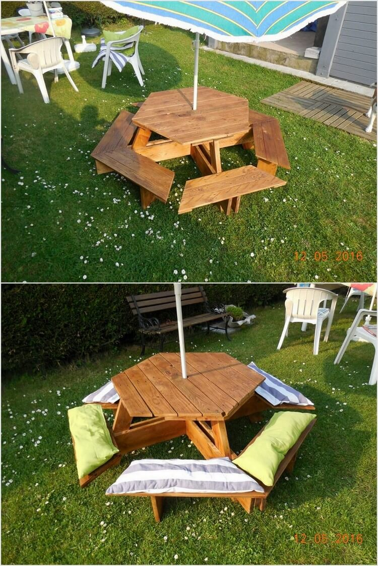 Round Pallet Table with Benches
