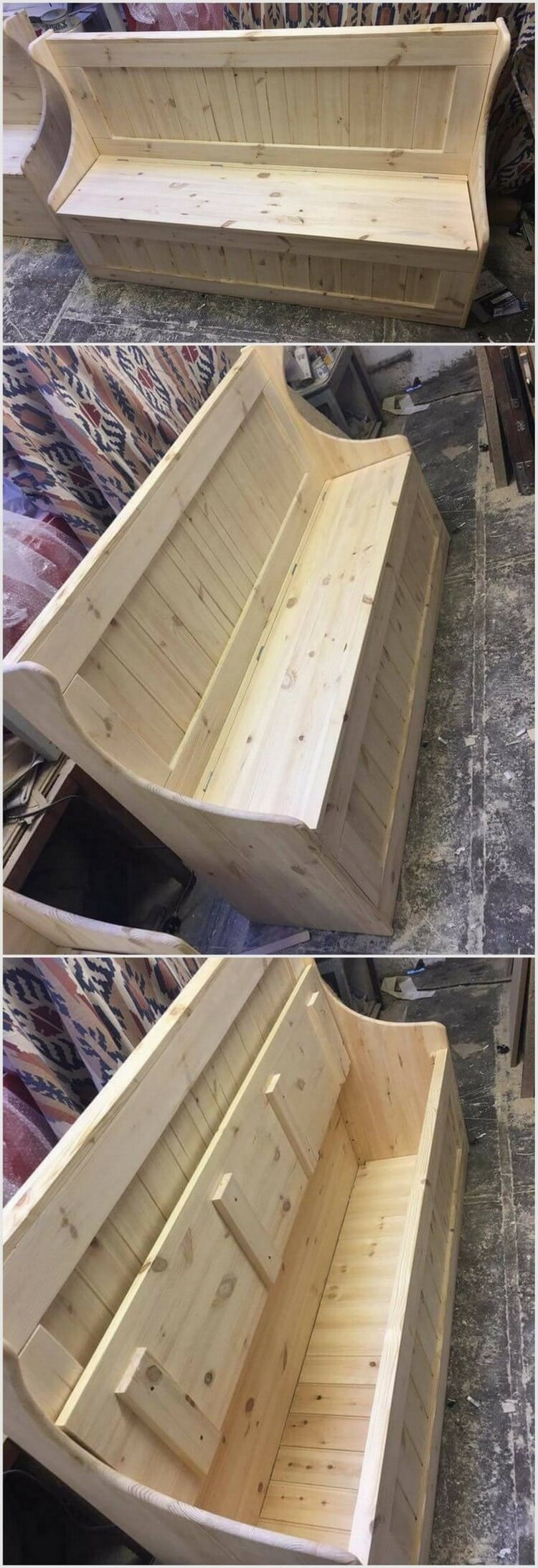 Unique and Stylish Pallet Bench with Storage