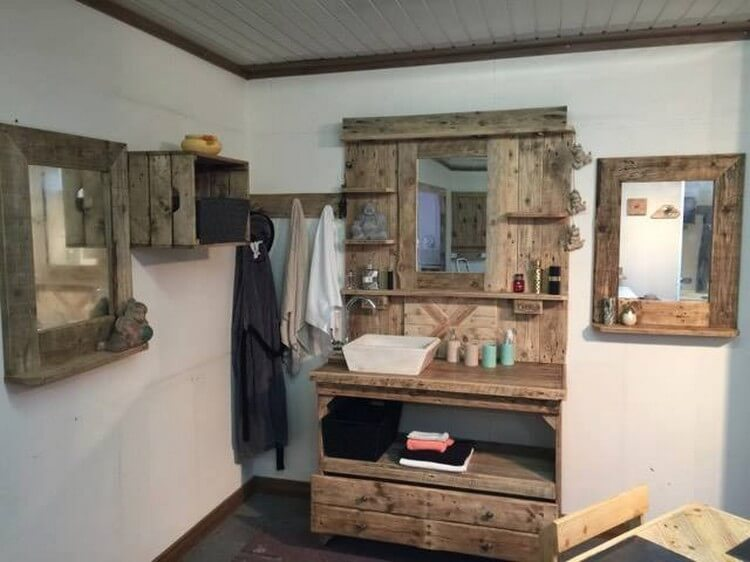 Wood Pallet Bathroom Vanity Mirror with Cabinet (2)