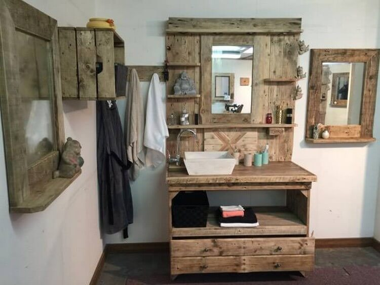 Wood Pallet Bathroom Vanity Mirror with Cabinet (3)