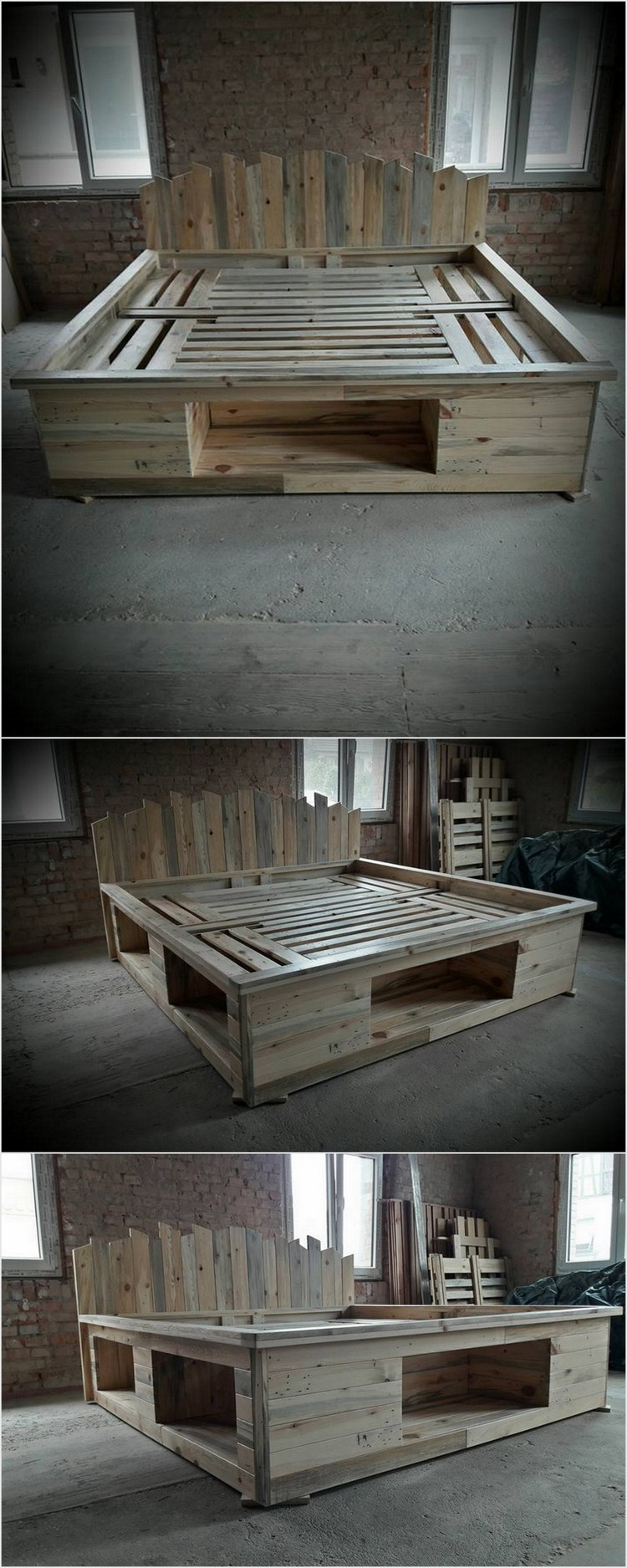 Price worthy awesome shipping pallet recycling ideas for Pallet bed frame with side tables