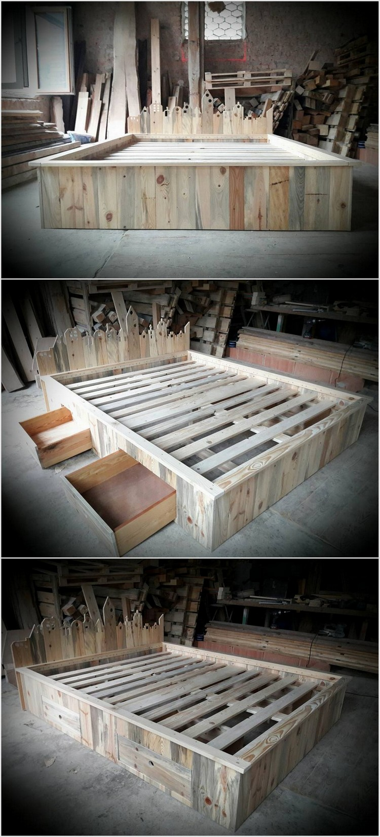 Fantastic ideas for wood pallet reusing pallet wood projects for Pallet bed frame with side tables
