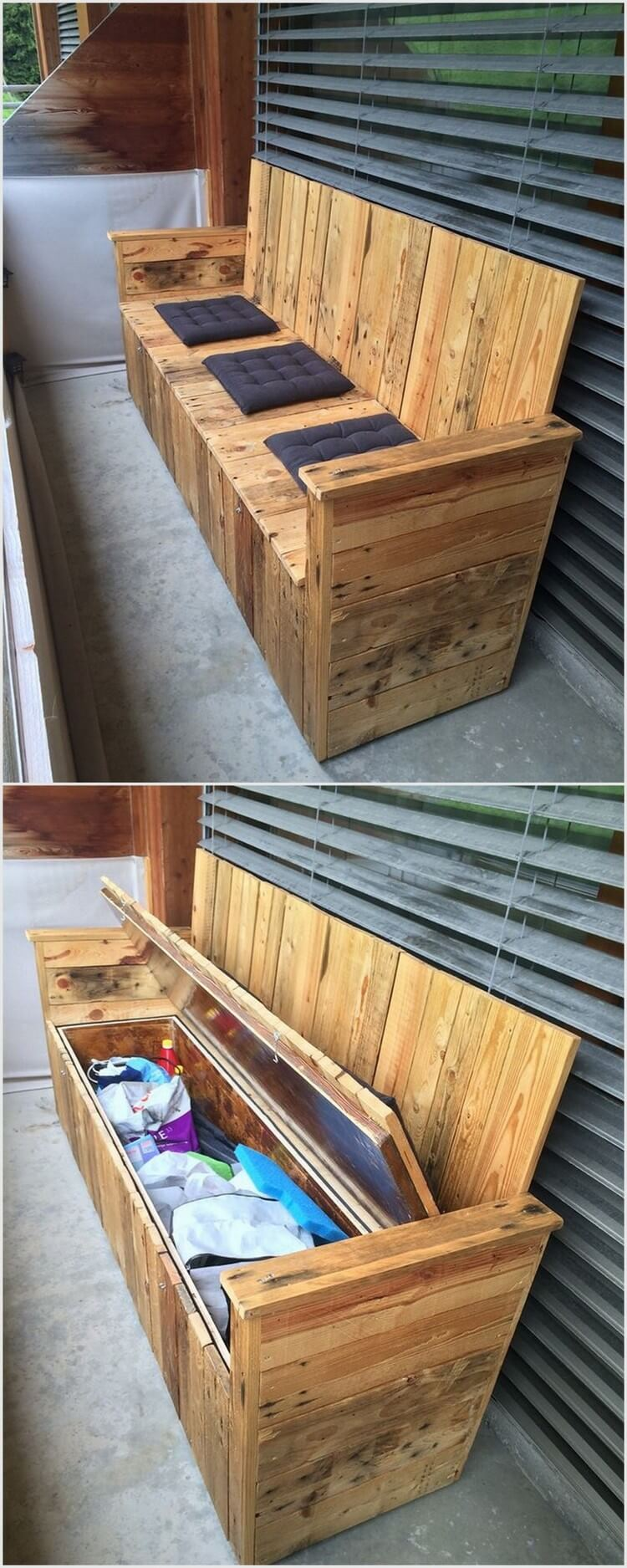 Wood Pallet Bench with Storage