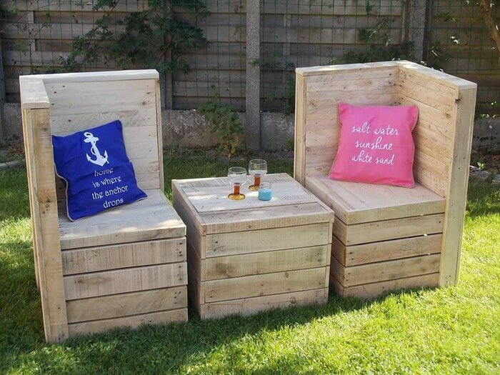 Wood Pallet Chairs with Table