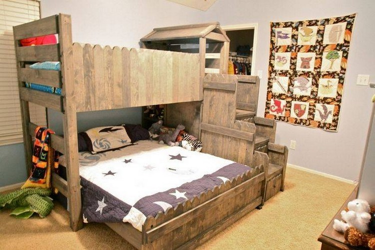Wood Pallet Double Bunk Bed