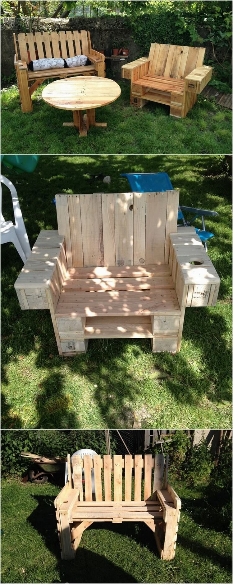 Wood Pallet Garden Sofa and Chair with Table