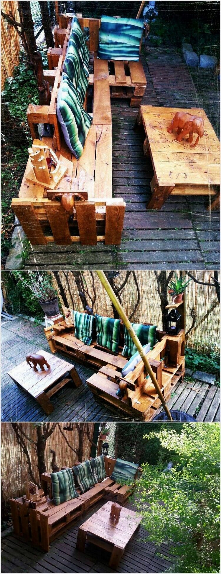 Wood Pallet Garden Sofa with Table