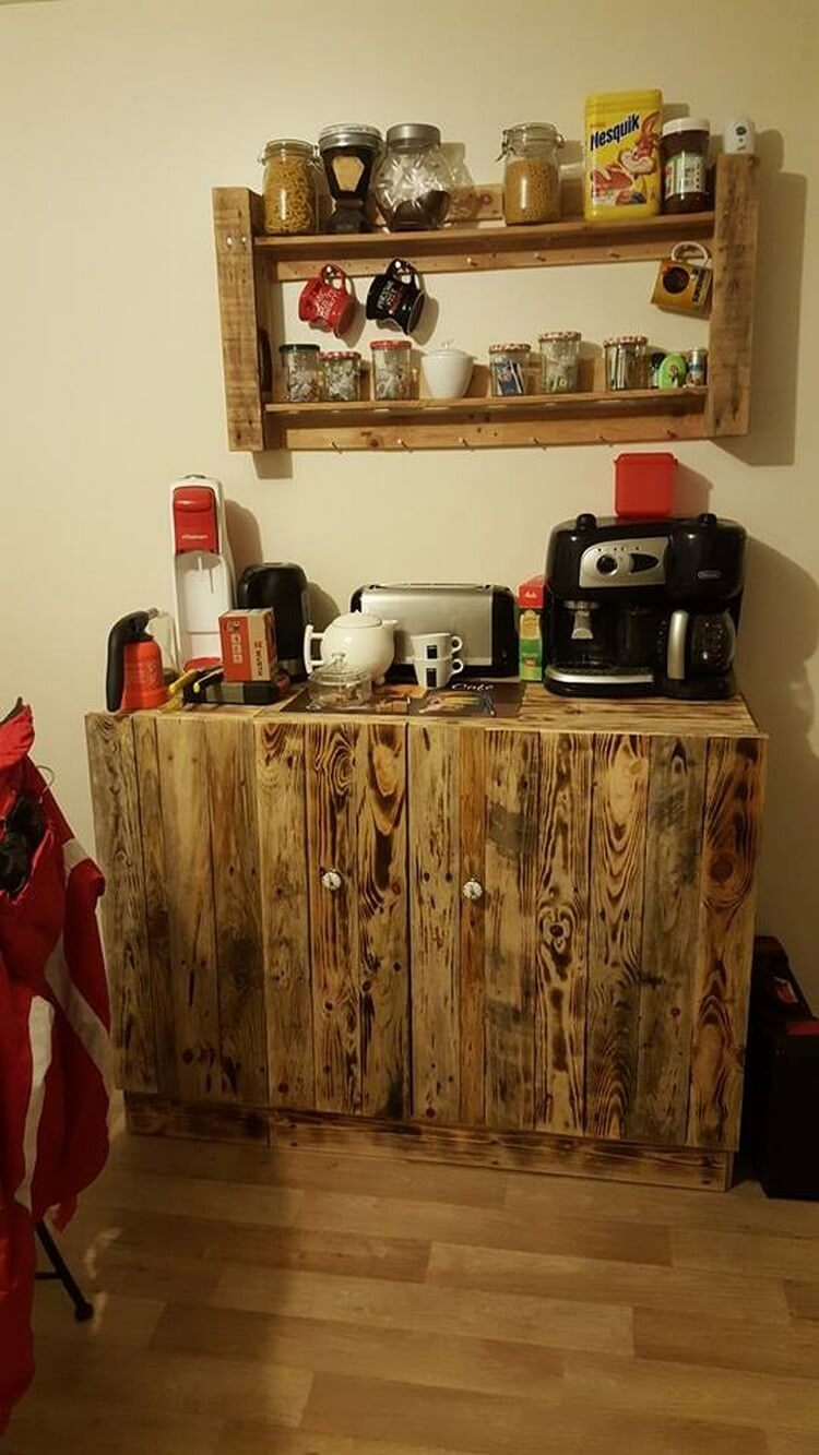 Wood Pallet Kitchen Cabinet Table and Wall Sheld