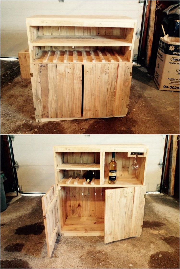 Wood Pallet Pallet Cabinet with Glass Holders