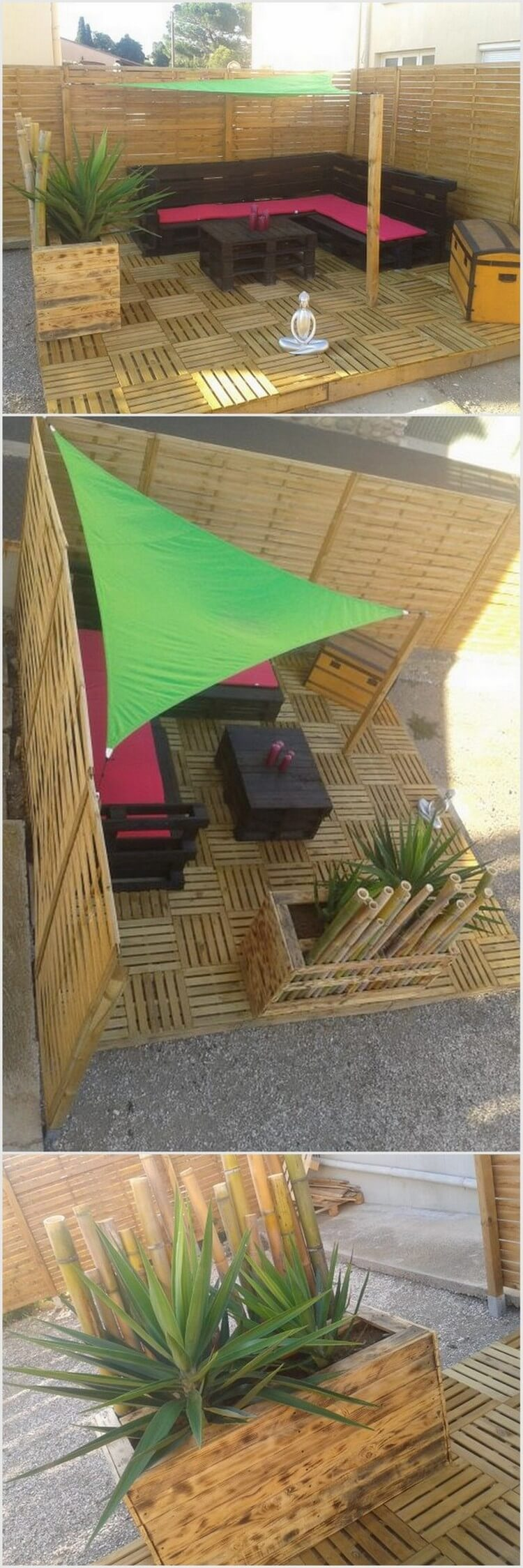 Wood Pallet Patio Funiture with Deck