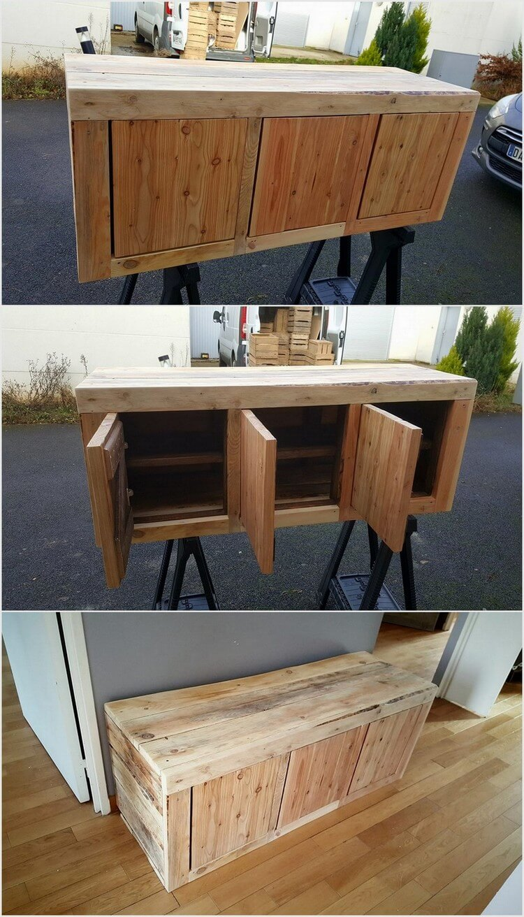 Wood Pallet Storage Cabinet Table