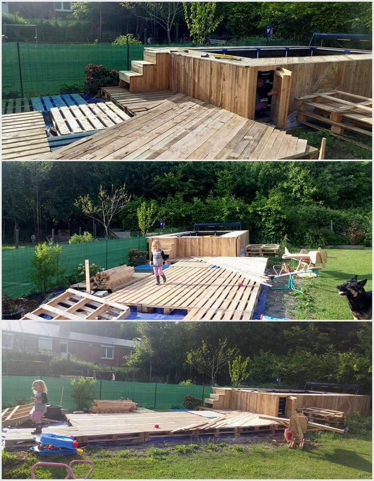 Wood Pallet Swimming Pool Deck