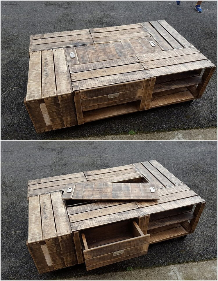 Wood Pallet Table with Drawer and Hidden Storage