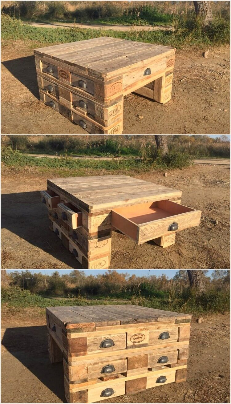 Wood Pallet Table with Drawers
