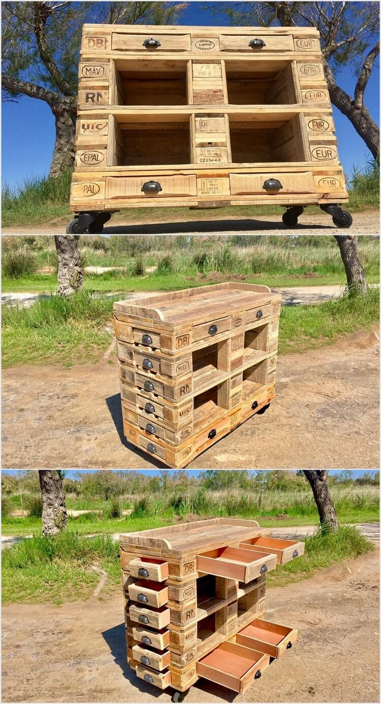 Wood Pallet Table with Front and Side Drawers