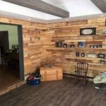 Wood Pallet Wall Cladding with Shelves