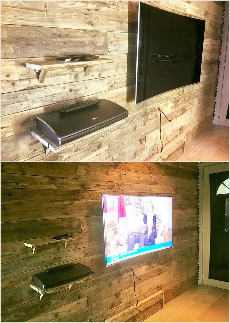 Wood Pallet Wall Paneling with LED Holder and Shelves