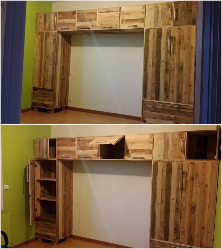 Wood Pallet Wardrobe with Huge Storage