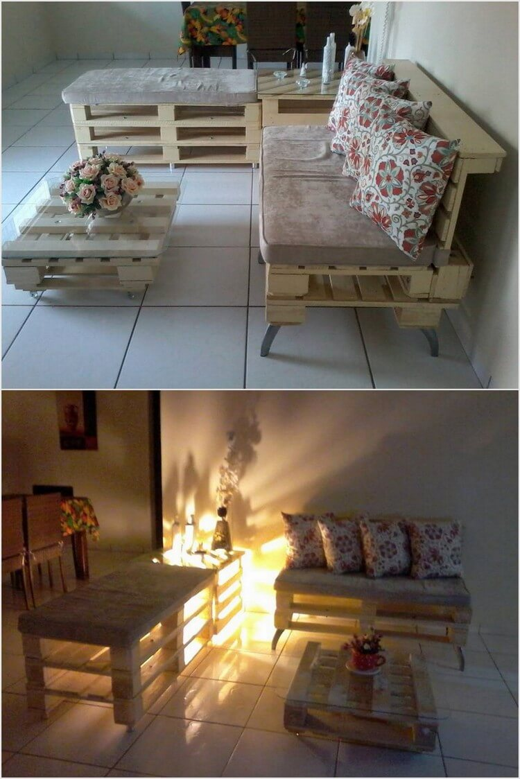 Wooden Pallet Couch with Lights