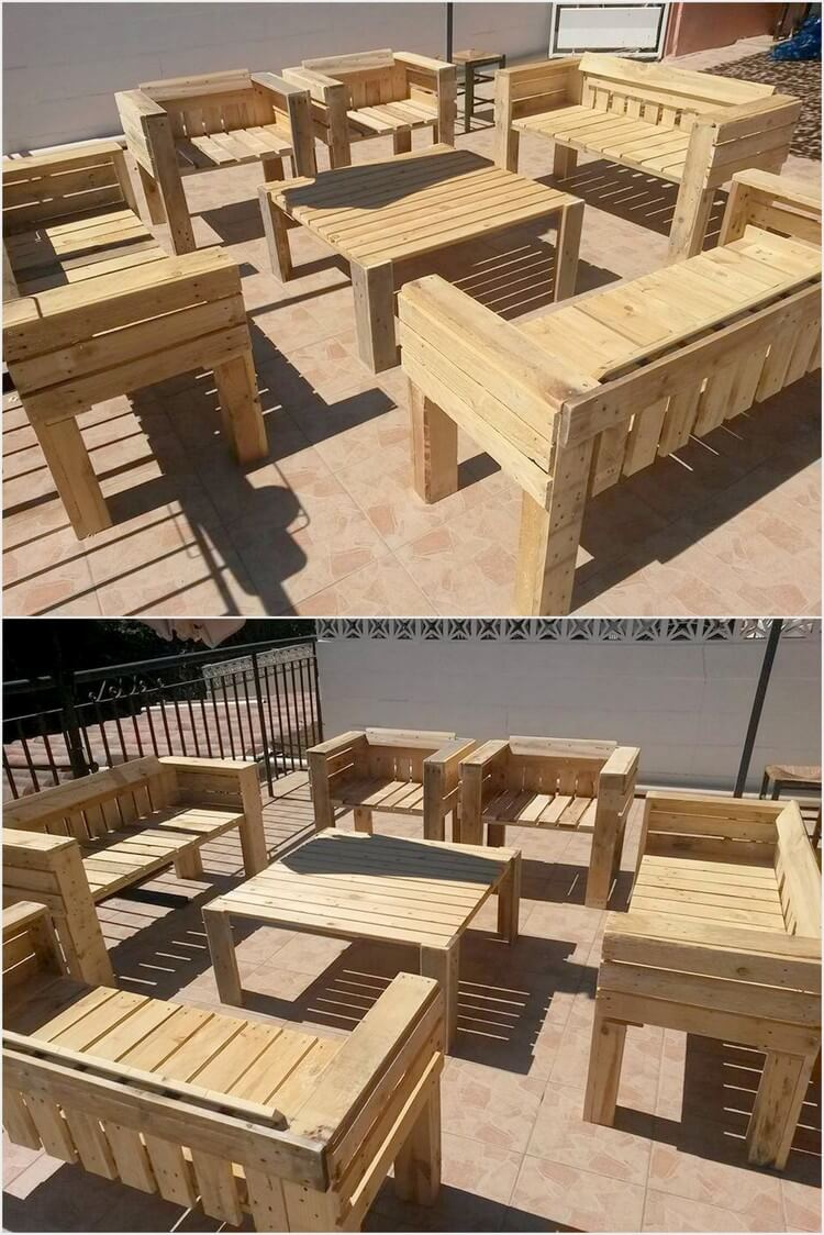 Wooden Pallets Outdoor Furniture Set