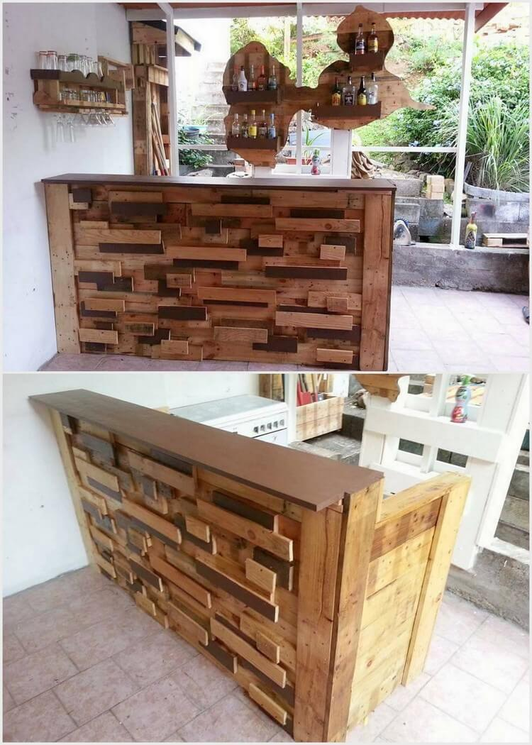 Artistic Wooden Pallet Bar Table and Shelves