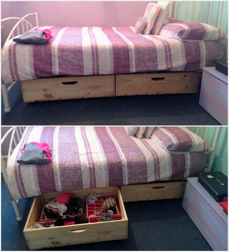 Bed with Pallet Storage Drawers