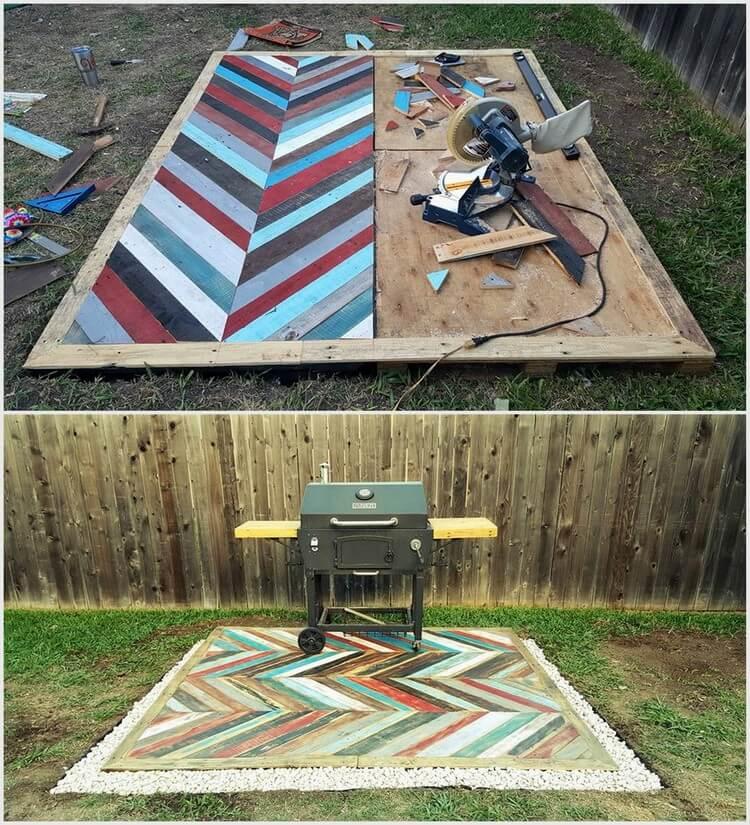 Chevron Pattern Pallet Garden Deck