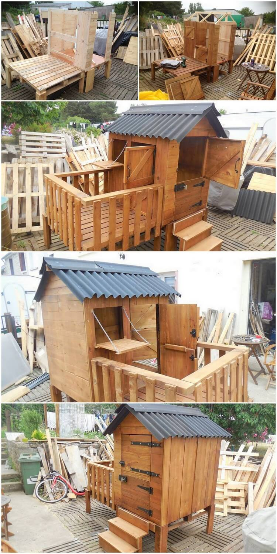 DIY Pallet Patio Cabin Playhouse
