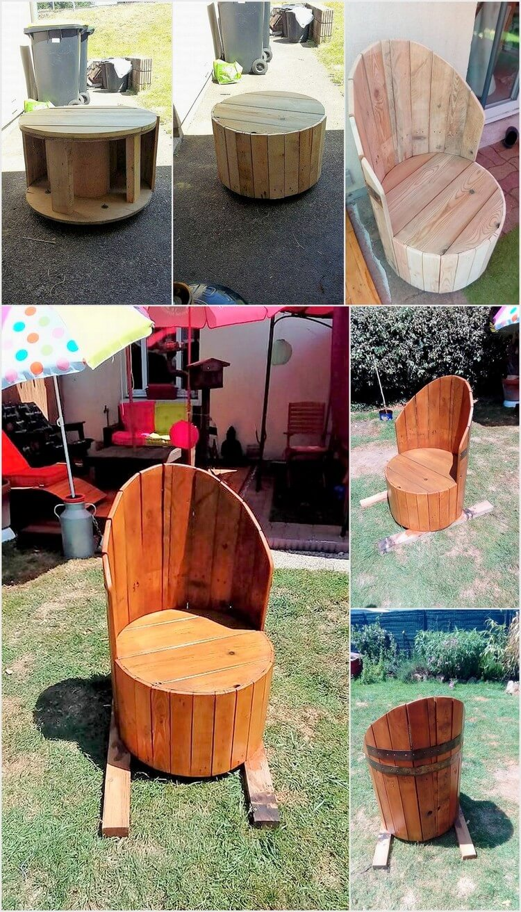 DIY Pallets and Cable Spool Made Armchair