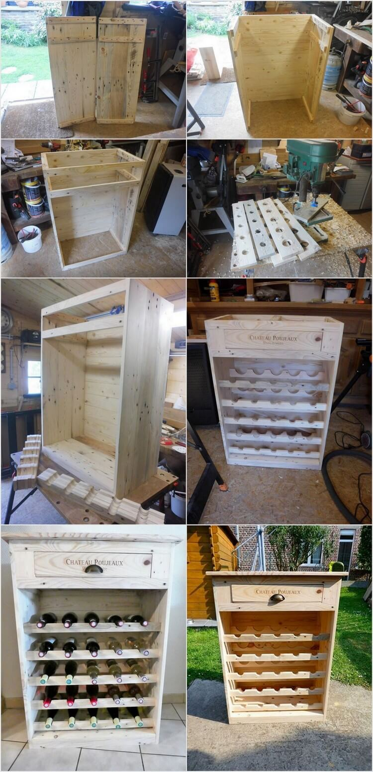 DIY Recycled Pallet Wine Rack with Drawer